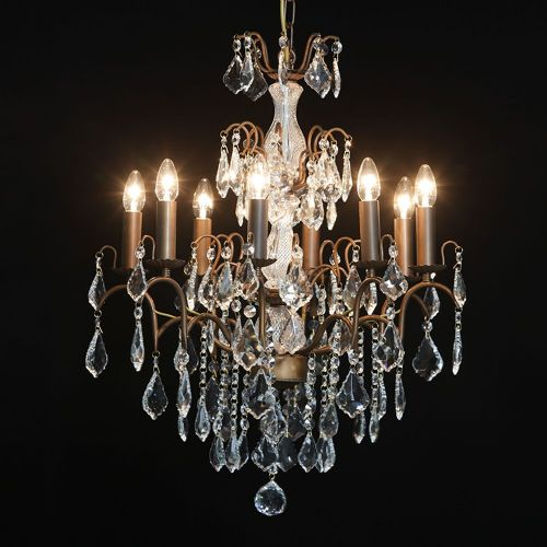 Antique French Cut Glass Bronze Chandelier 8 arm